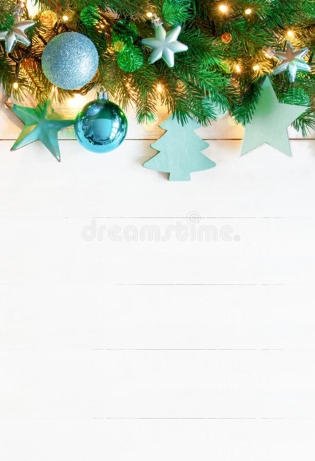 Turquoise Vertical Christmas Banner, Copy Space, Wooden Background stock images