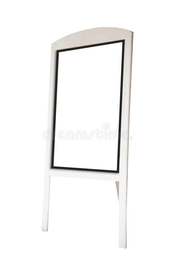 White wooden board blank canvas mockup isolated on white background .Blank space for text and images . Blank space for text and images of file with Clipping royalty free stock image