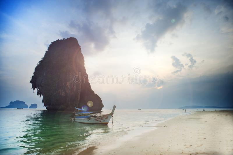 White Wooden Boat on Body of Water royalty free stock image