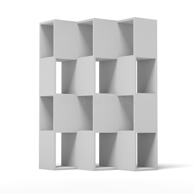 White wooden bookshelf. Isolated on a white background. 3d render royalty free illustration