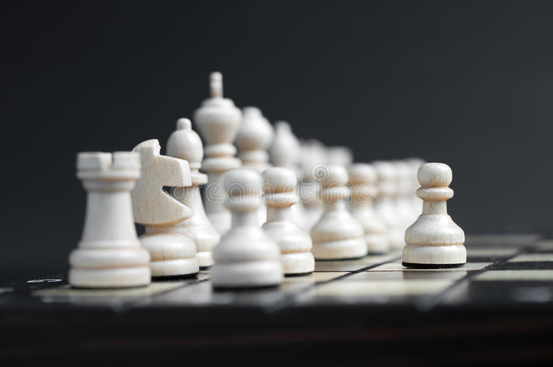 White Wooden Chess Stock Images