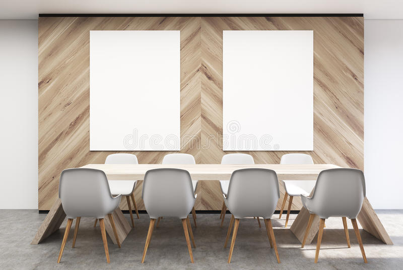 White And Wooden Conference Room Interior With A Long Table, White Chairs  Standing Around It And Tow Vertical Posters On A Wall. 3d Rendering Mock Up