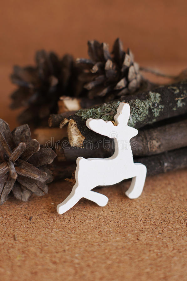 Download White wooden deer stock photo. Image of december, white - 33840174