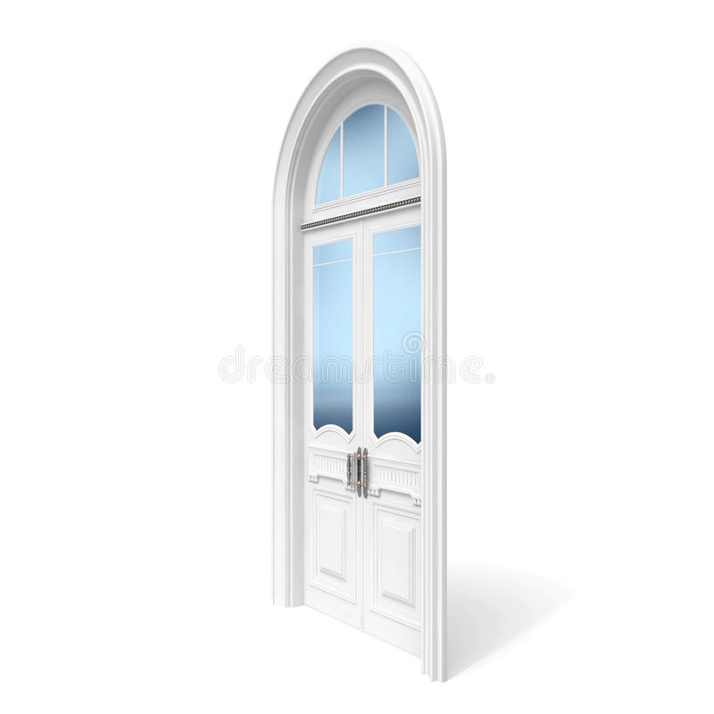 Download White Wooden Door With Reflected Glass Sections Stock Illustration - Image: 25364794