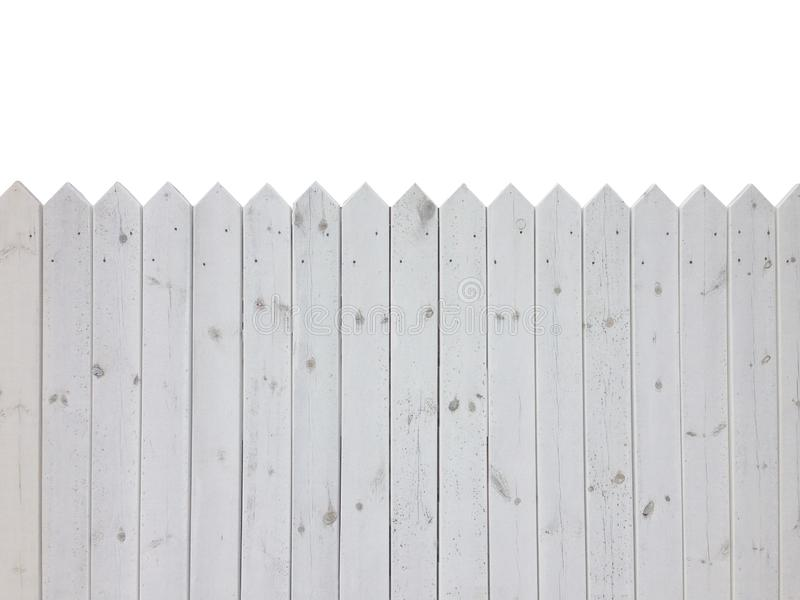 White wooden fence isolated on white background with copy space royalty free stock photos