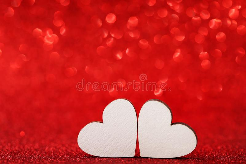 White wooden hearts royalty free stock photography