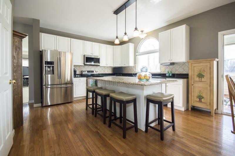 White Wooden Kitchen Island royalty free stock image