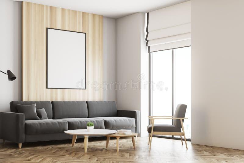 White and wooden loft living room, poster side vector illustration