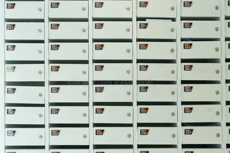 White wooden mailbox service royalty free stock photography
