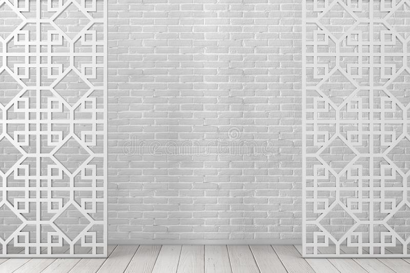 White Wooden Pattern Divider Screen in Arabic or Chinese Style. 3d Rendering stock illustration