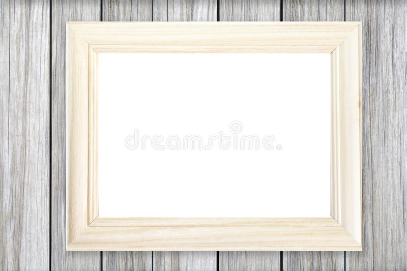 download white wooden picture frame on wood wall stock image image 60872967 - White Wood Frame
