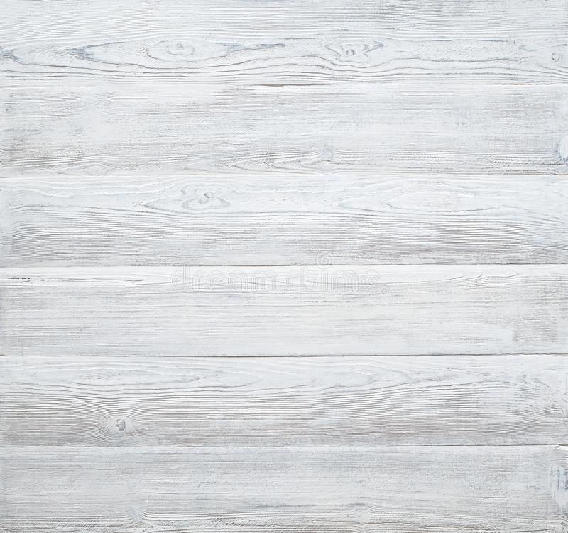 Wood Table Top On Blurred Beach Background Vintage Tone: White Wood Planks Texture, Wooden Table Background Stock