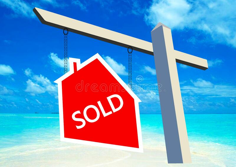 Sold signpost. White wooden post with red House for Sold notice board over blue sky stock photos