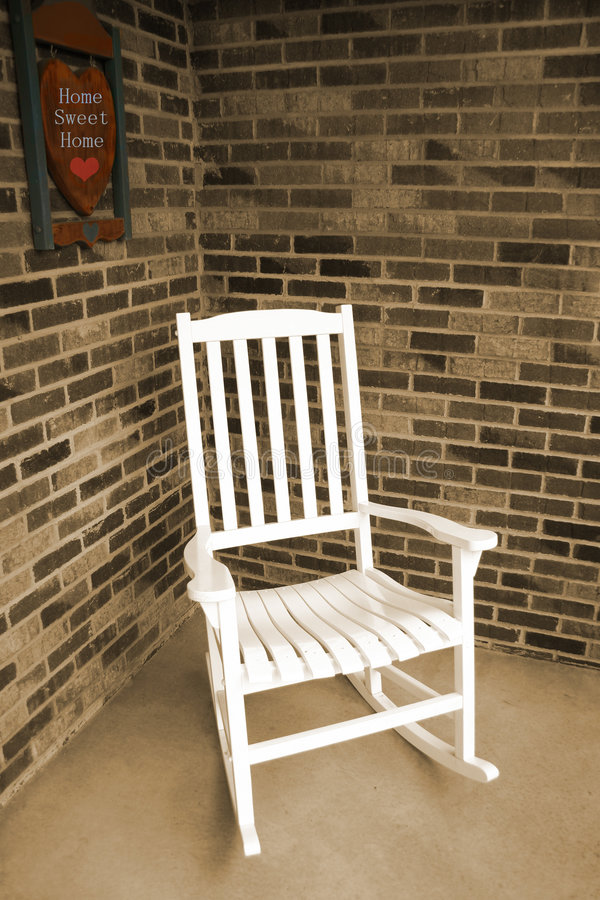 White Wooden Rocking Chair royalty free stock photo
