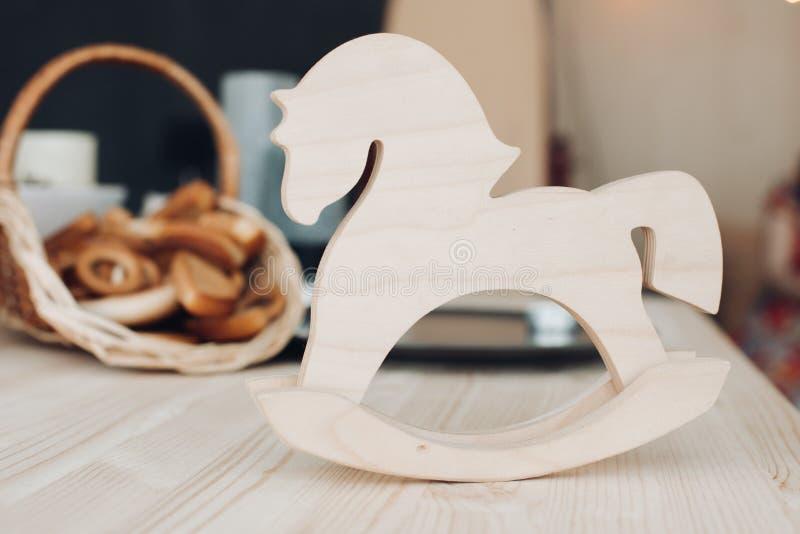 White wooden rocking horse. Children toy toy stock photos