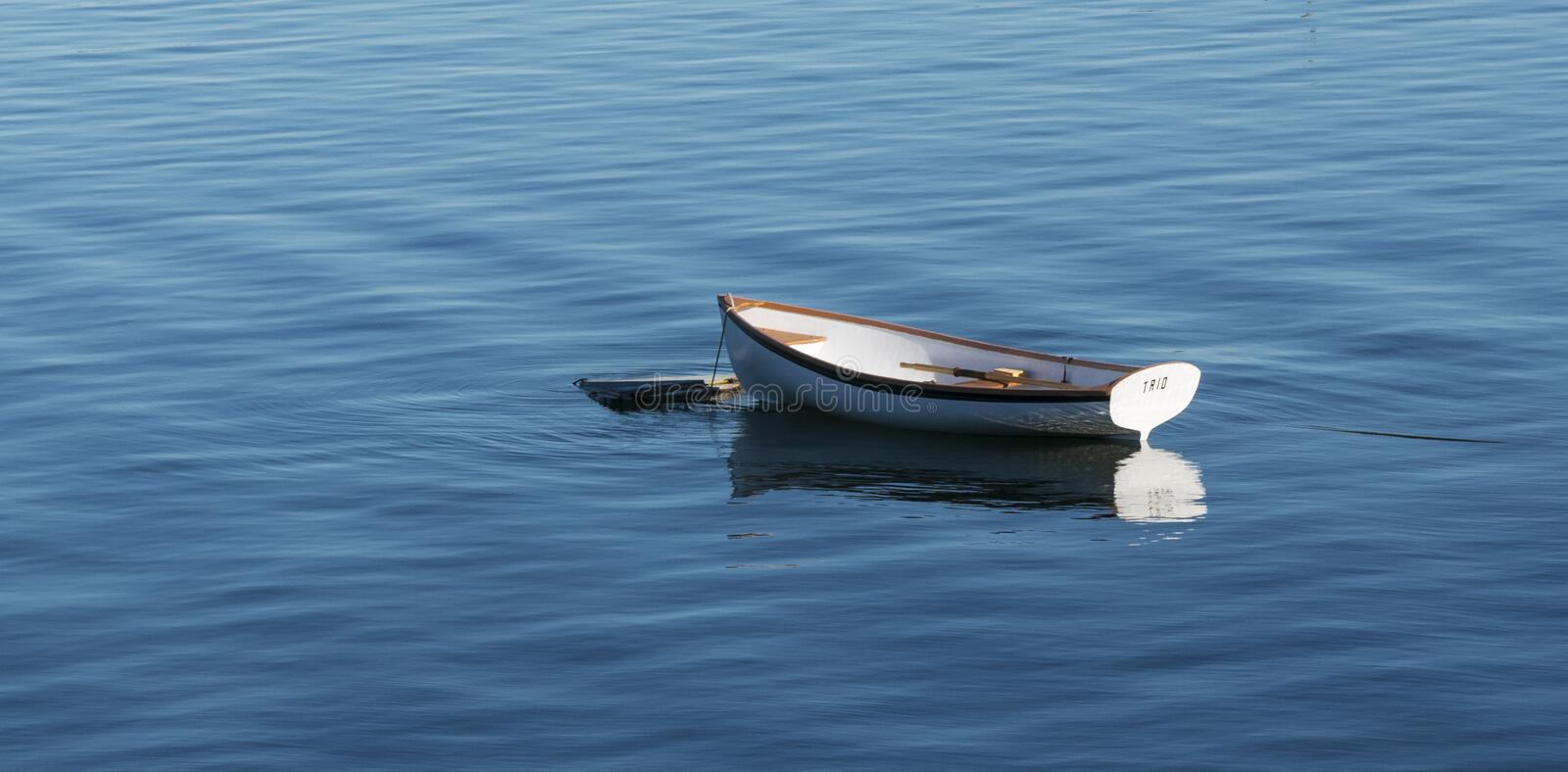 Small white wooden row boat moored in Bass Harbor MAine royalty free stock images