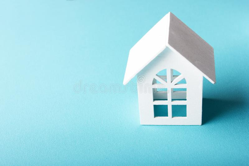 White wooden toy house royalty free stock image