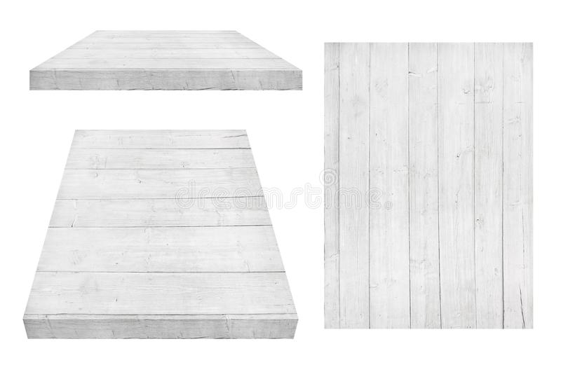 White wooden wall, table, floor surface, wooden texture. Objects are isolated on white background royalty free stock image