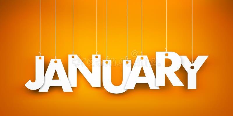 White word January on orange background. New year illustration vector illustration
