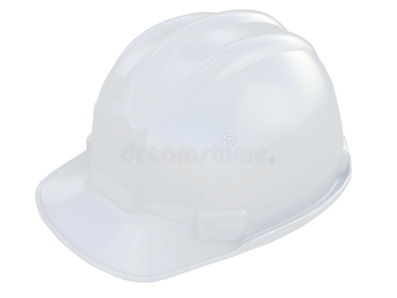 White worker helmet of a construction site on a white background 3d rendering. White worker helmet of a construction site on a white background royalty free illustration