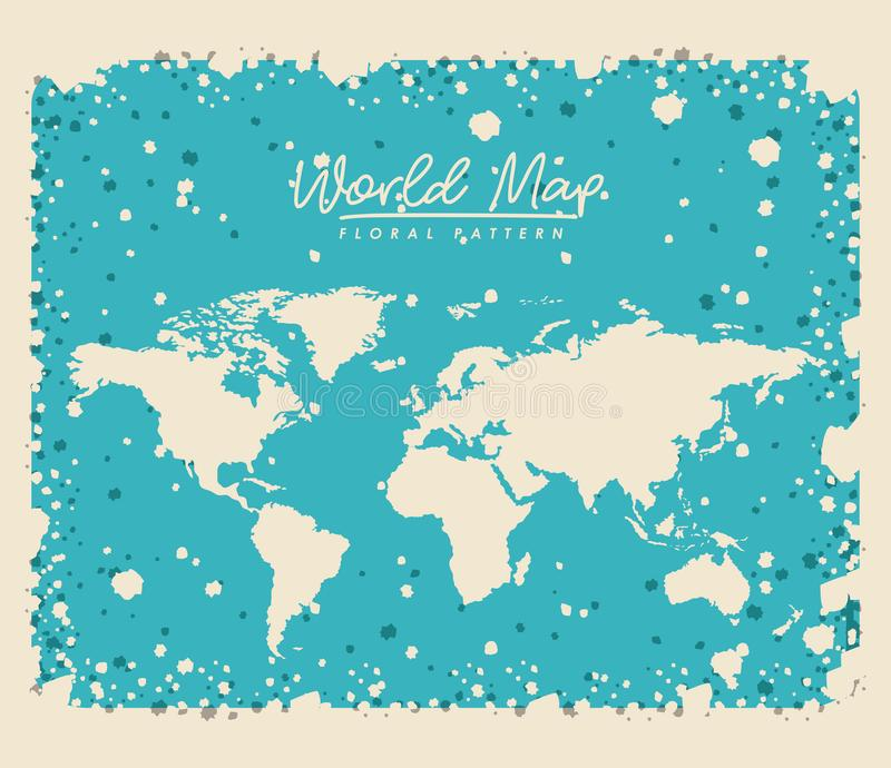 White world map floral pattern with light blue background vector illustration