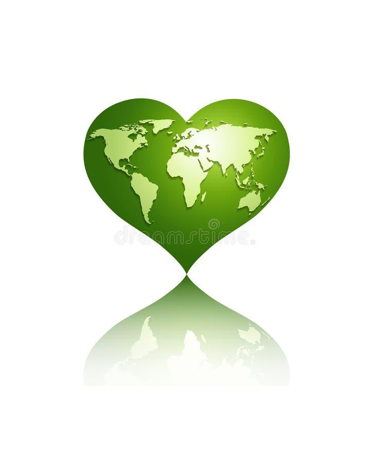 White world map on green heart globe stock illustration