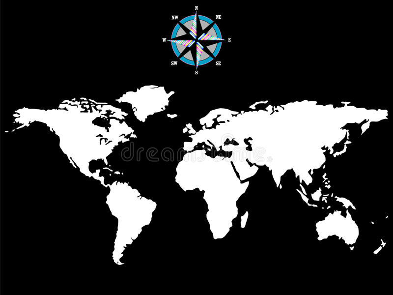 White world map with wind rose isolated on black stock vector download white world map with wind rose isolated on black stock vector illustration of north gumiabroncs Images