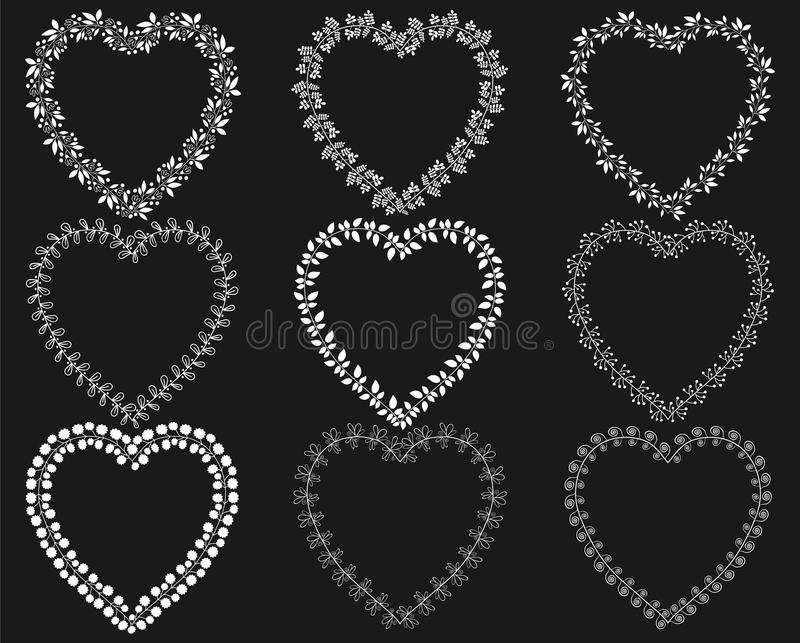 White wreath frames in the shape of hearts. For wedding invitations, greeting cards vector illustration