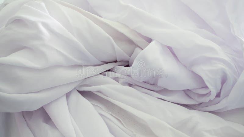 White wrinkled fabric background royalty free stock photos