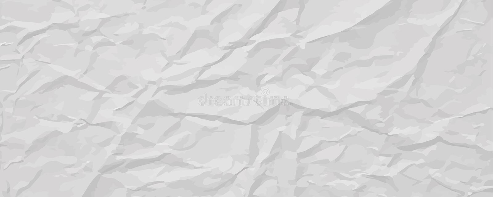 White wrinkled paper texture, abstract light background vector illustration