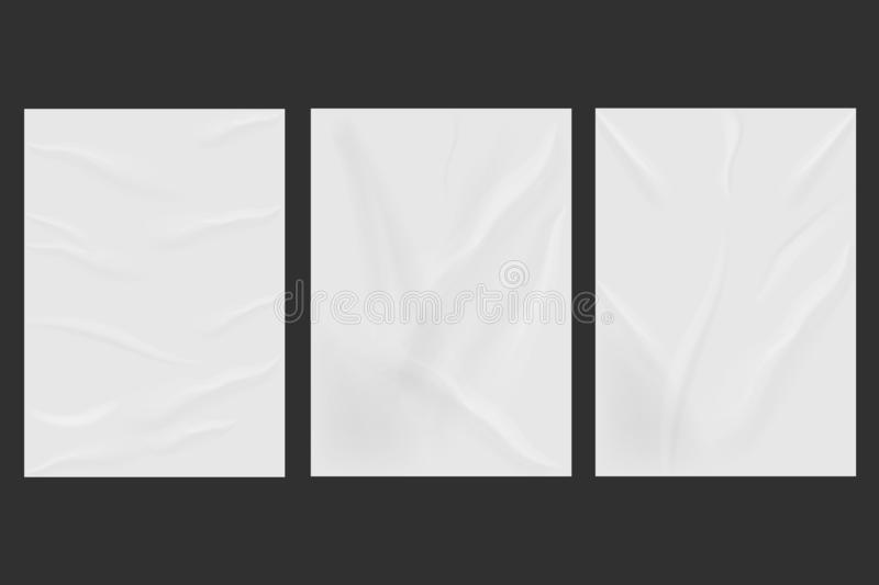 White wrinkled poster template set isolated on background. Vector illustration royalty free stock photos