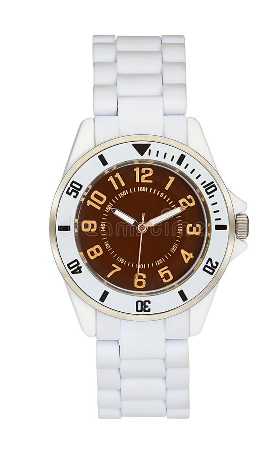 White wrist watch isolated with clipping path. White wrist watch isolated on white with clipping path stock photo