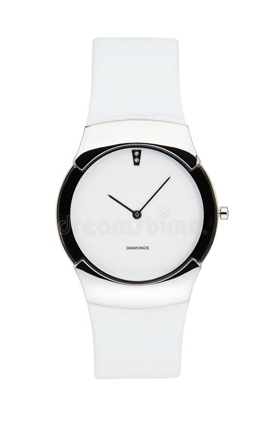 White wrist watch isolated with clipping path. White wrist watch isolated on white with clipping path royalty free stock photography