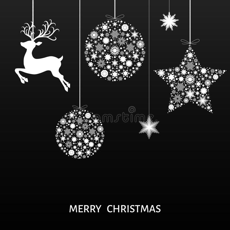 Download white xmas ball reindeer and snowflakes on black background stock vector illustration