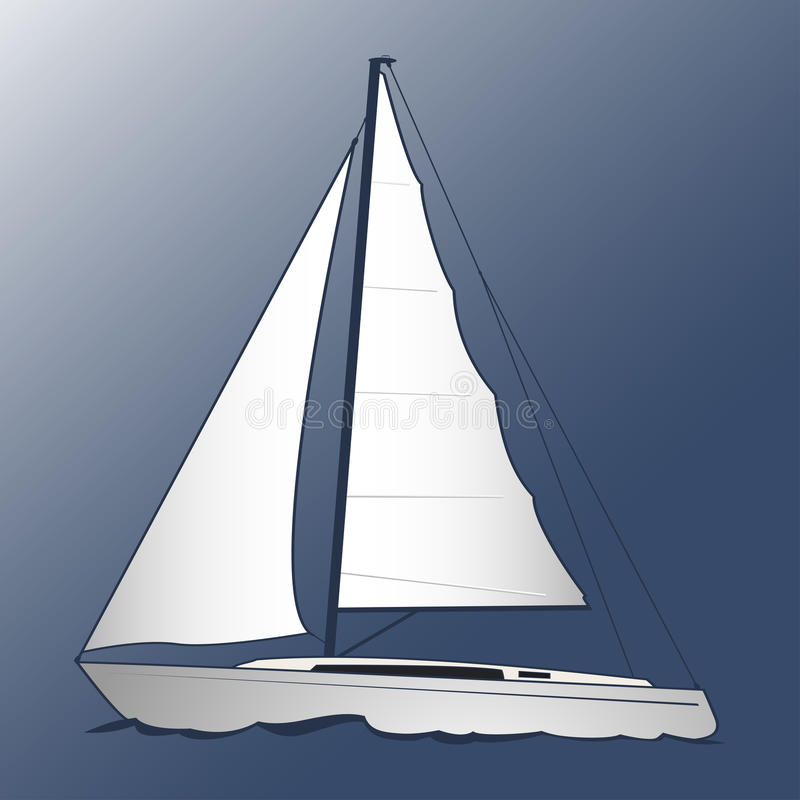 A white yacht. Blue background. Marine and underwater themes stock illustration