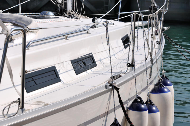 Download A white yacht in harbor stock photo. Image of cord, stop - 17274898