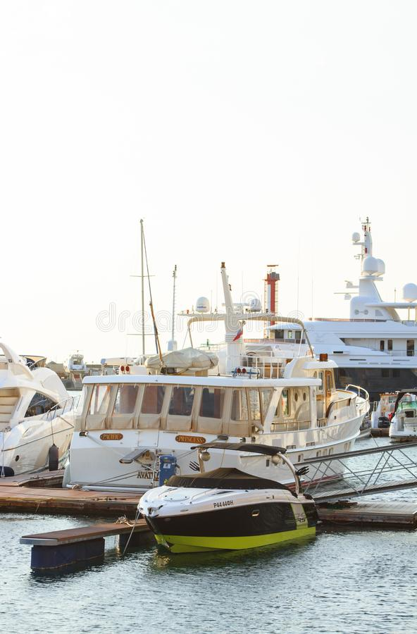 White Yacht Parked on Wooden Dock royalty free stock photos