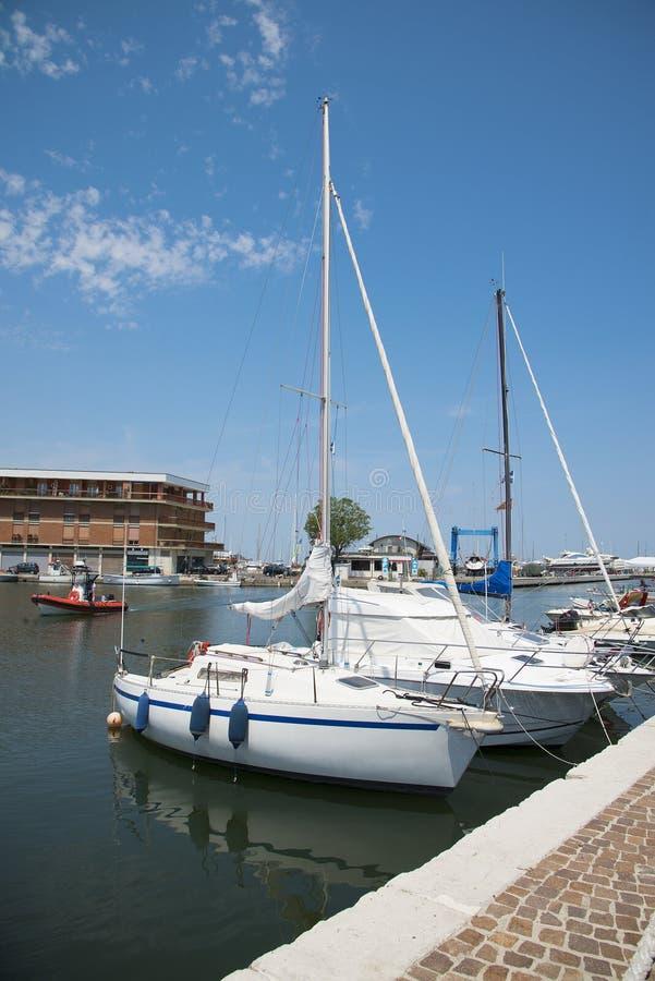 Free White Yachts In The Port Waiting. Misano Adriatico, Emilia Romagna, Italy Royalty Free Stock Photography - 95630777