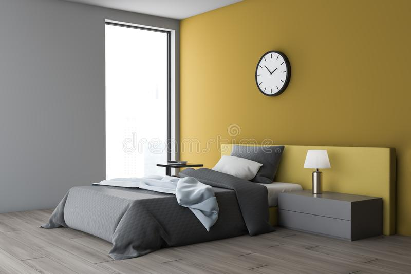 White And Yellow Bedroom Corner With Clock Stock ...
