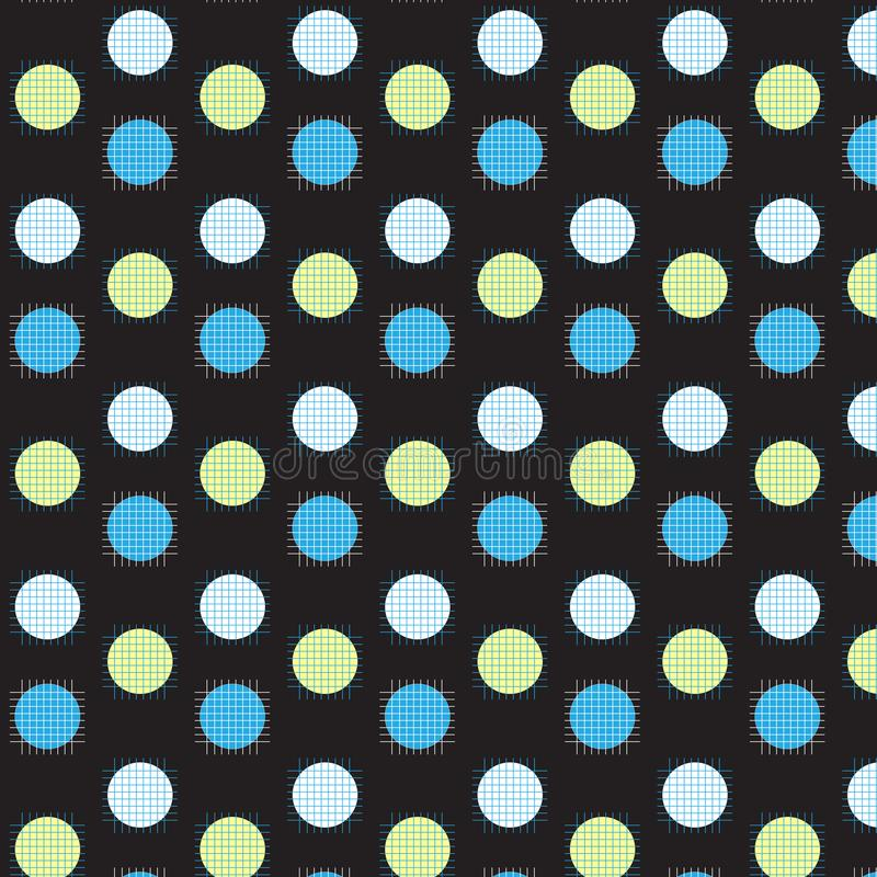 White yellow and blue circle with white and blue grid line on to vector illustration