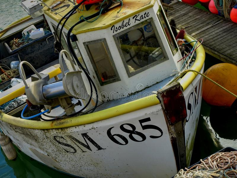 Fishing boat moored in Brighton Marina United Kingdom royalty free stock photos