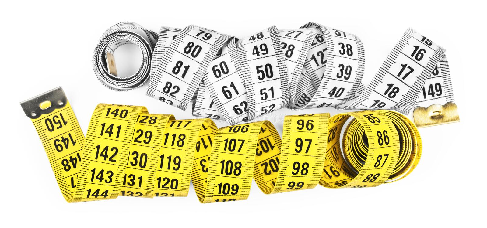White and yellow measuring tape stock photography
