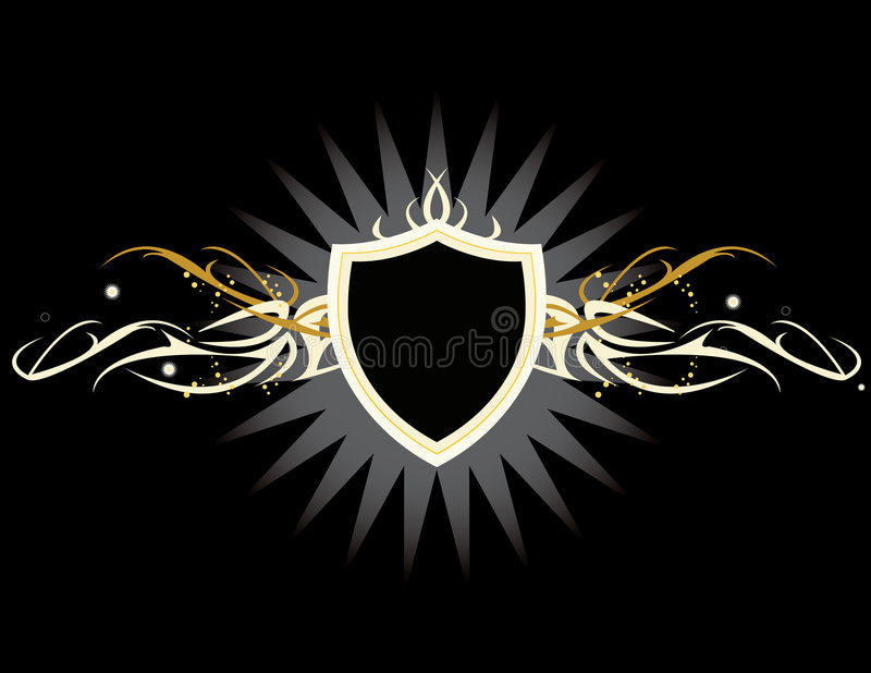 White yellow shield royalty free illustration