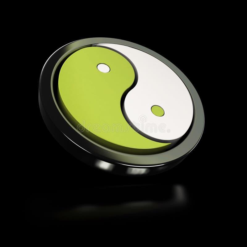 White yin yang symbol over black stock photography