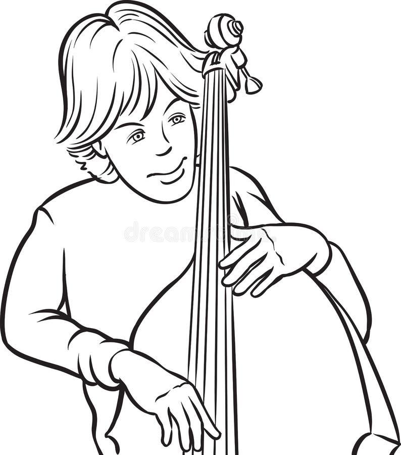 Whiteboard图画-低音提琴球员 向量例证