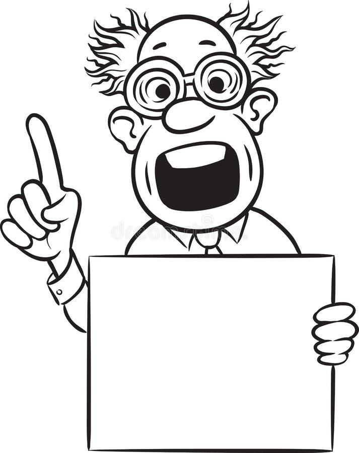 Whiteboard图画-指向有空白的pl的疯狂的科学家手指 向量例证