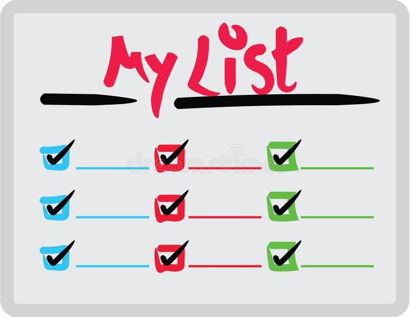 Whiteboard με ΓΙΑ ΝΑ ΚΑΝΕΙ τον κατάλογο - πίνακας υπομνημάτων σπιτιών και γραφείων απεικόνιση αποθεμάτων