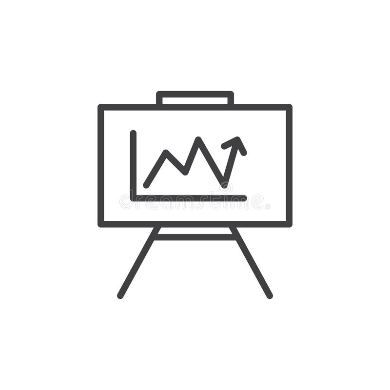 Whiteboard με την ανάπτυξη του εικονιδίου γραμμών διαγραμμάτων, διανυσματικό σημάδι περιλήψεων, γραμμικό εικονόγραμμα ύφους που α απεικόνιση αποθεμάτων