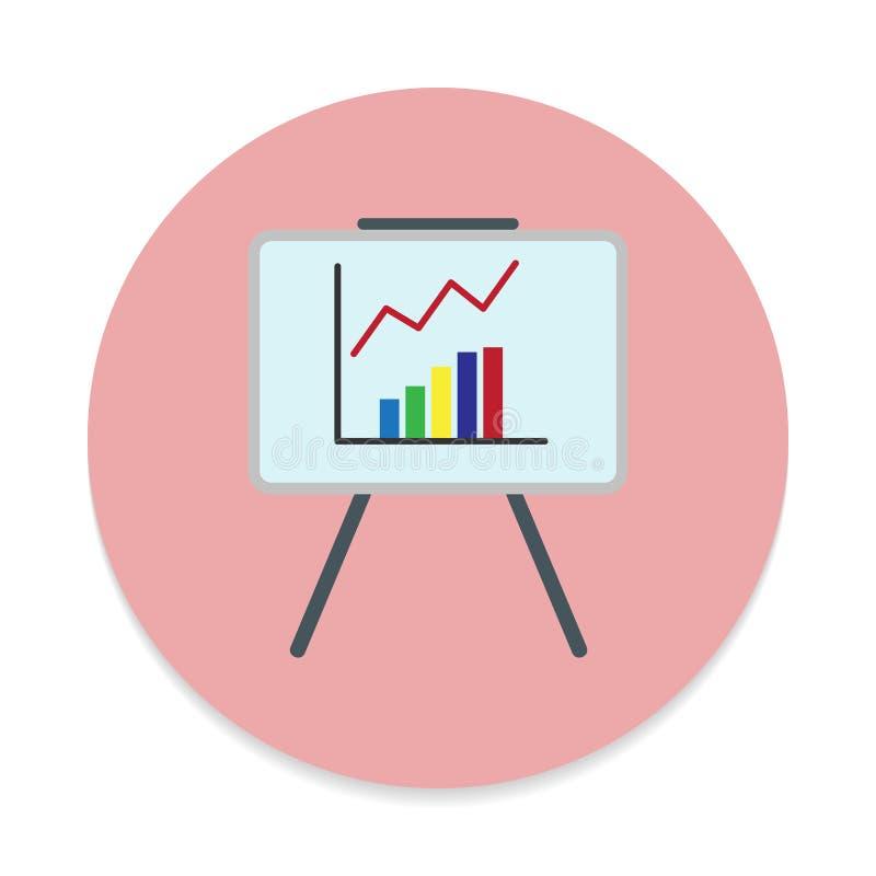 Whiteboard με την ανάπτυξη του επίπεδου εικονιδίου διαγραμμάτων Στρογγυλό ζωηρόχρωμο κουμπί, κυκλικό διανυσματικό σημάδι ελεύθερη απεικόνιση δικαιώματος