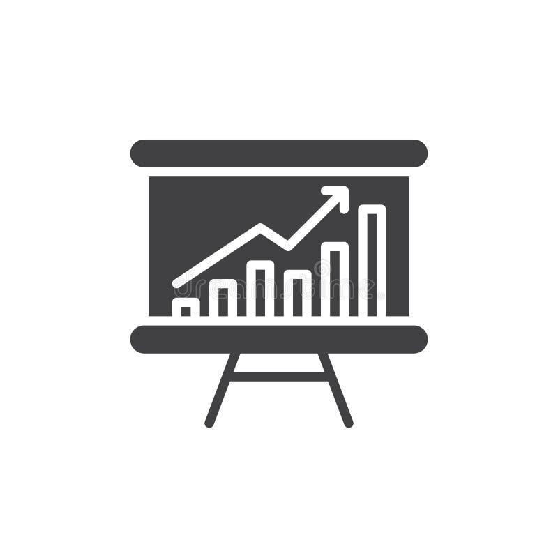 Whiteboard με την ανάπτυξη του διανυσματικού, γεμισμένου επίπεδου σημαδιού εικονιδίων διαγραμμάτων, στερεό εικονόγραμμα που απομο ελεύθερη απεικόνιση δικαιώματος